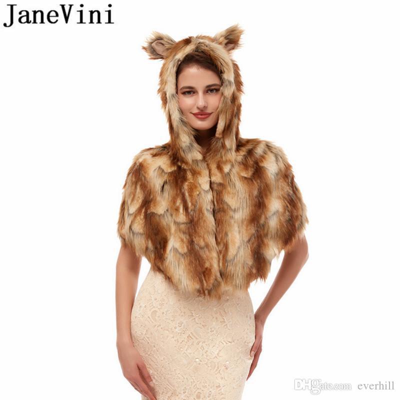 JaneVini Brown Hooded Fur Coat Jacket Women Wedding Cape Faux Fur Stoles Bolero Bride Bridal Shawl Party Wraps Shrugs Winter