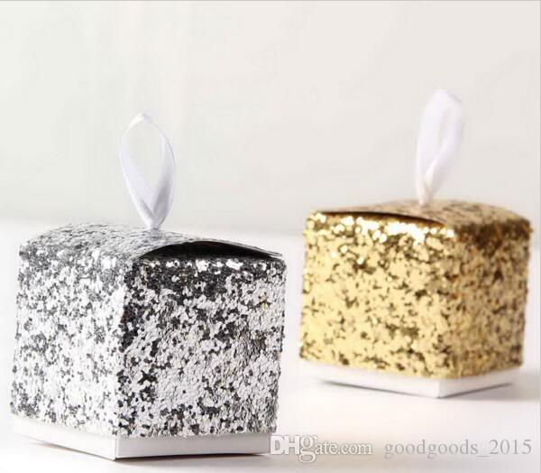 Glitter Box Wedding Party Gift Favors Box Festive Party Wrapping Supplies Wedding Candy Box Gold Silver Glitter DLH040