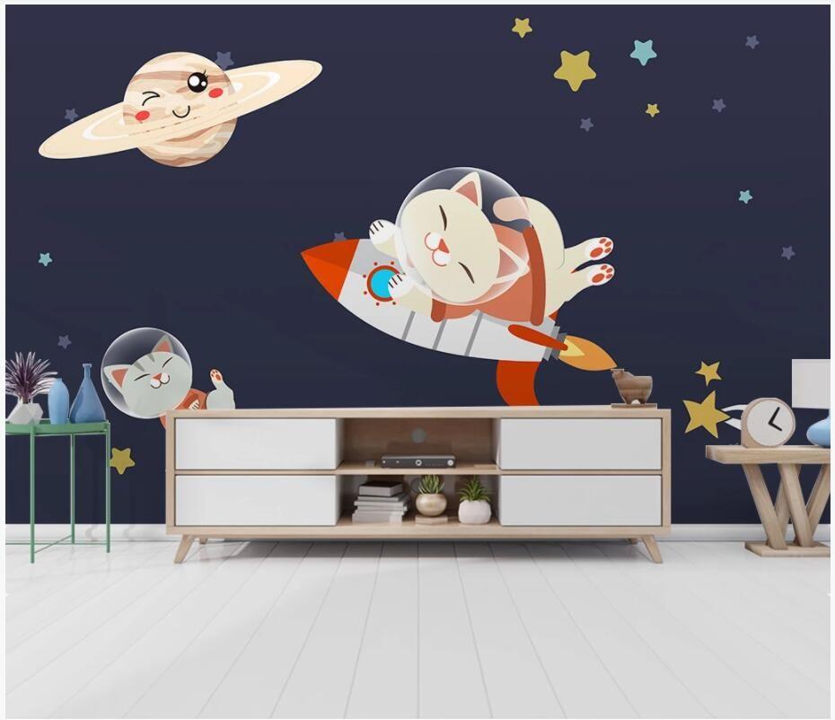 3d настенные росписи обои для стен 3 d Современного мультфильм котенок ракеты звездного неба дети фон 3d wallpaer пользовательских фото росписи домашнего декор