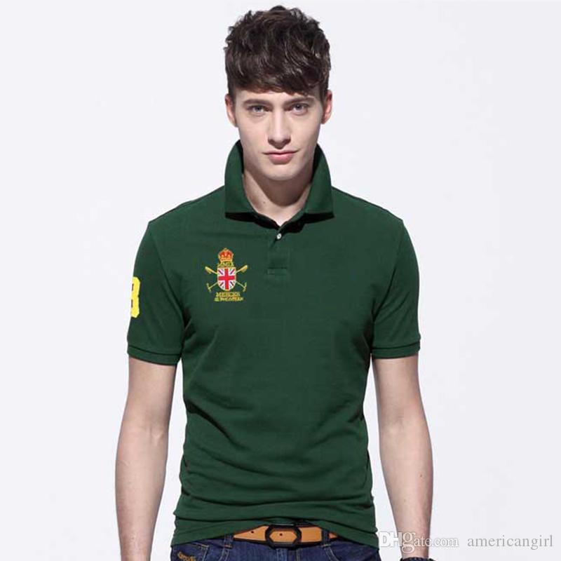 Tamaño de los EE. UU. Camisetas de polo para hombre con bordado Big Horse Logo Designer de manga corta Casual Polo T Shirts