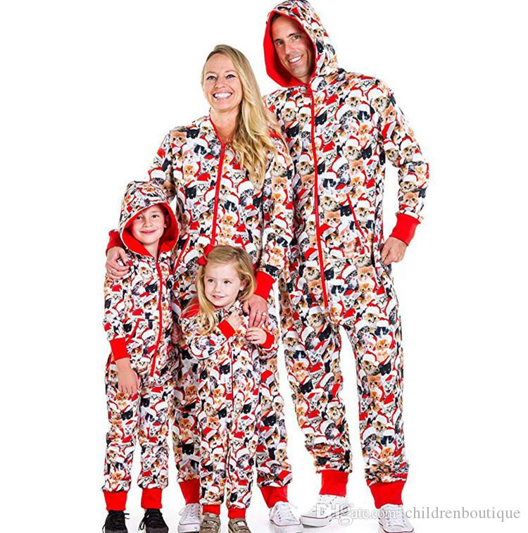 Family Christmas Matching Pajamas Mom Dad And Kids Sleepwear Family Matching Hooded Jumpsuits Christmas Fortune Cat Printed Family Look