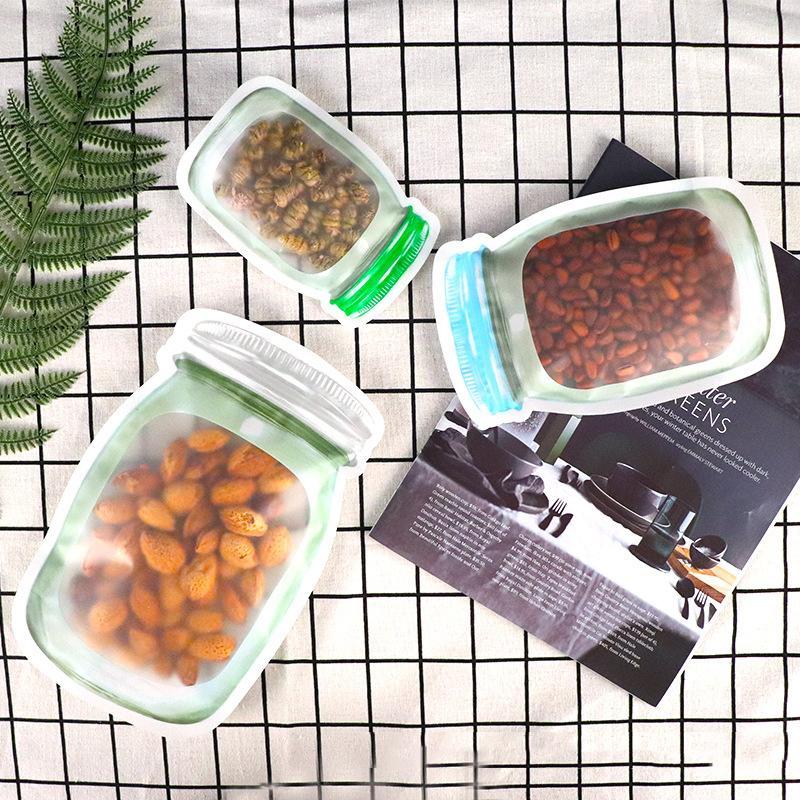 500 Stück wiederverwendbare Food Storage Bag Weckglas Form Snacks Airtight Seal Food Saver Auslaufsichere Taschen Kitchen Organizer-Taschen 3 Größen DBC BH2643