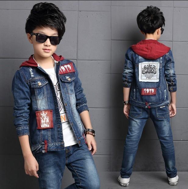 Kinderkleidung Jungen Denim Anzug 2019 New Spring Korean Kinderjacke Große Kinder Jeansjacke + Jeans 2 Stück Set J190511