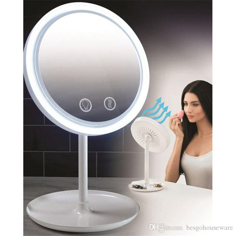 LED beleuchtete Spiegel mit Fan-LED-Lampe Make-up Spiegel 3 in 1 Cosmetic Beauty Desktop-Make-up Schönheit Frauen-Mädchen-Kosmetikspiegel BH1940 TQQ