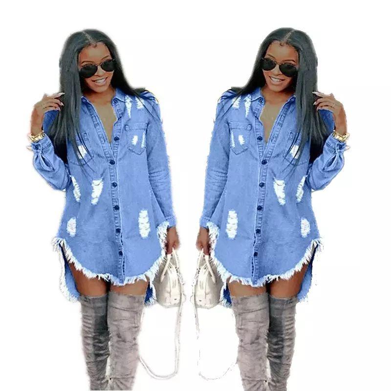 Women casual dresses hole tassel denim dress long sleeved loose T-shirt dress designer clothing plus size mini Vintage Party Dress