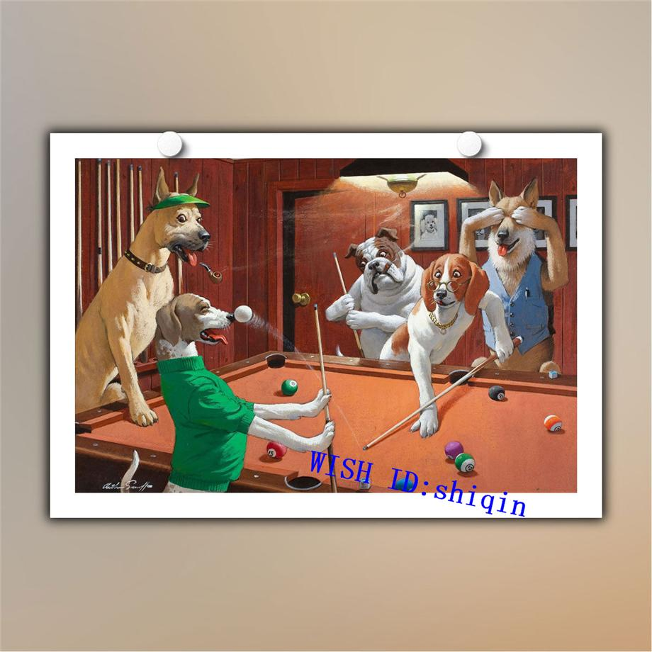 HD Canvas Print Dogs Playing Pool Billiards Oil Painting on Canvas 12x18 Inch