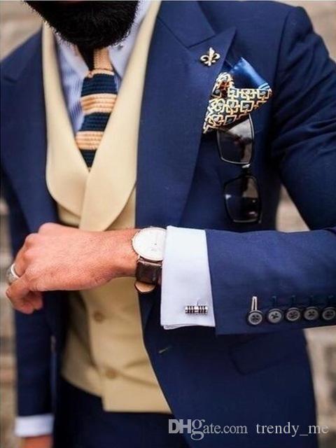 Ternos de casamento personalizado Azul marinho Noivo Smoking Slim Fit Para Suit Men Prom Party Blazer Rua Smart Business para homens traje Homme