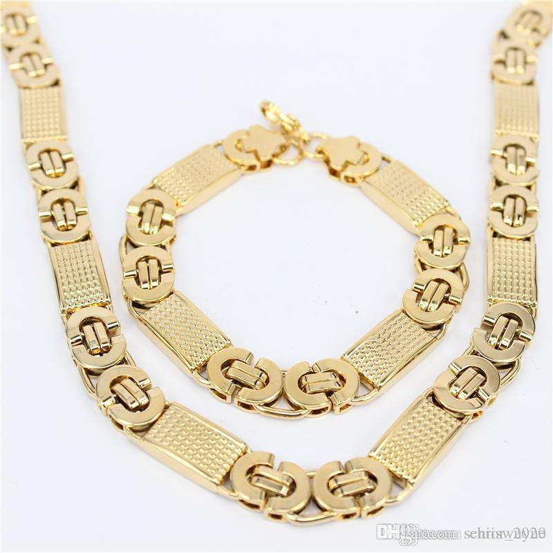New Fashion Silver/Gold Plated Rope Chain Necklace 316L Stainless Steel Necklace Bracelet Men Jewelry Set