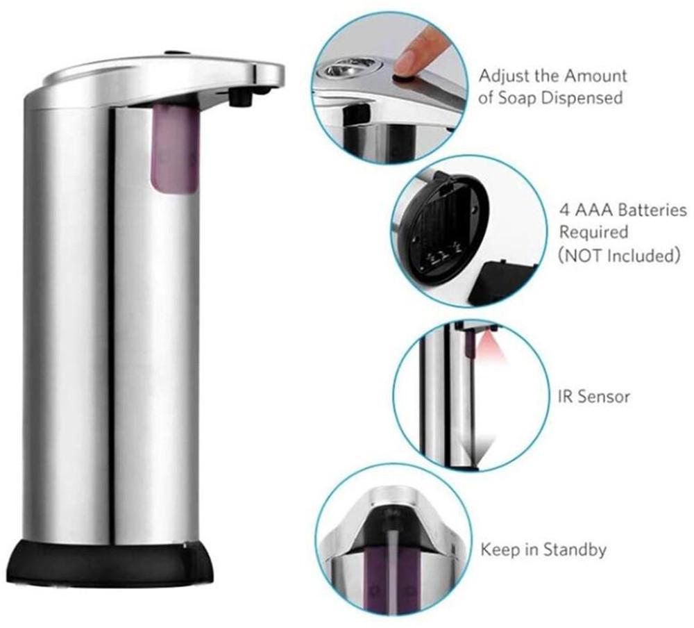 منزل جديد Santizer موزع Touchless التلقائي الفولاذ المقاوم للصدأ الحمام يدوي الرئيسية IR الاستشعار الحساسة شامبو صابون الصيدلي