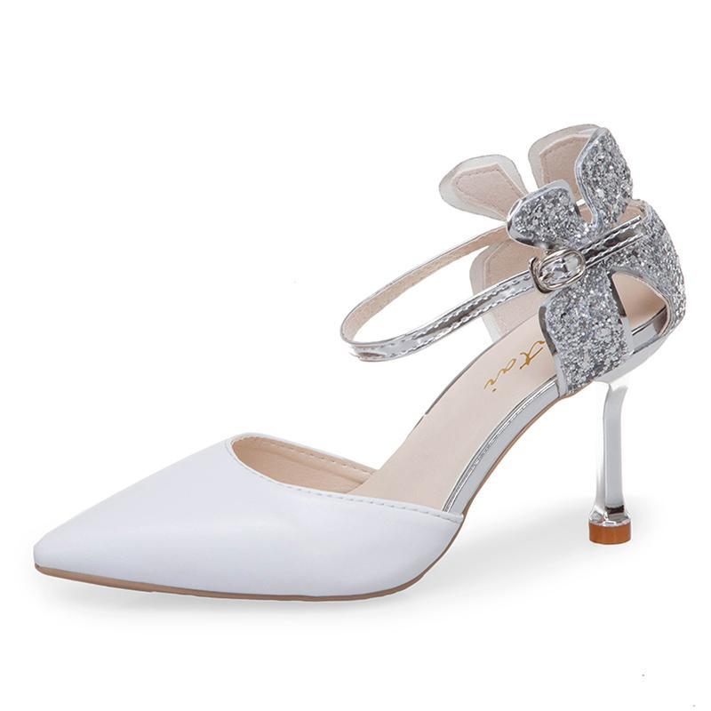 Zapatos de fiesta Rimocy Elegantes de plata con purpurina calados con diseño floral, verano otoño 2019, Punta puntiaguda, tacones altos con