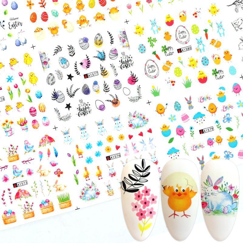 12pcs Spring Designs Nail Art Stickers eau Foils animaux Fleur Feuille poussin autocollants pour les ongles manucure Wraps curseur BEA1573-1584