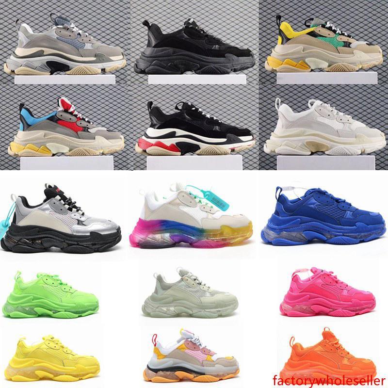2020 Mode Effacer Sole Bottom Paris 17FW Triple S Mens Designer Sneakers Vintage Dad Plateforme Femmes Luxe Chaussures de sport Casual Formateurs