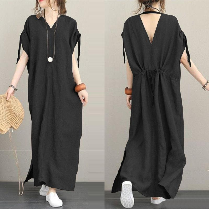 Vintage Maxi Dresses 2019 ZANZEA Women's Sundress Batwing Sleeve Summer Vestidos Femme V Neck Split Robe Plus Size Shirt Dress
