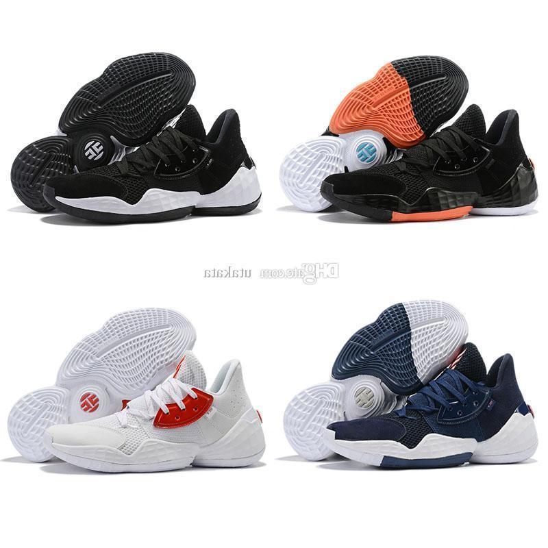 Box2019 ile Yeni En Kaliteli Sertlik Vol.4 erkekler basketbol ayakkabı Vol 4 bred Sneakers Siyah Beyaz Turuncu Erkek Spor Eğitmenler Boyutu 40-46