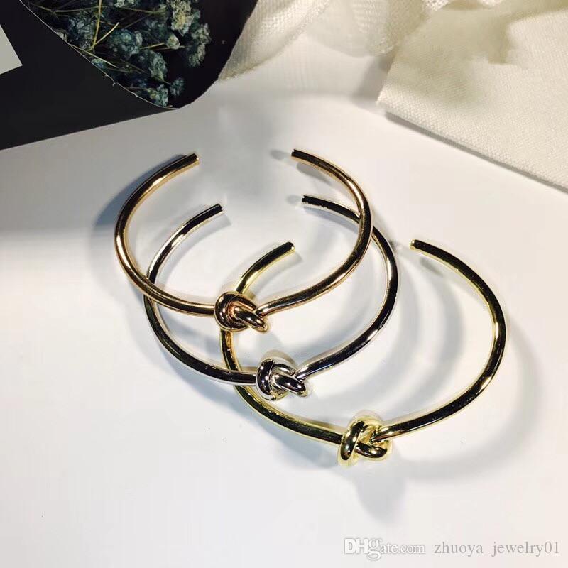 2020 stainless steel knotted bracelet men and women friendship bracelet silver rose gold open C shaped bracelet jewelry designer bangle