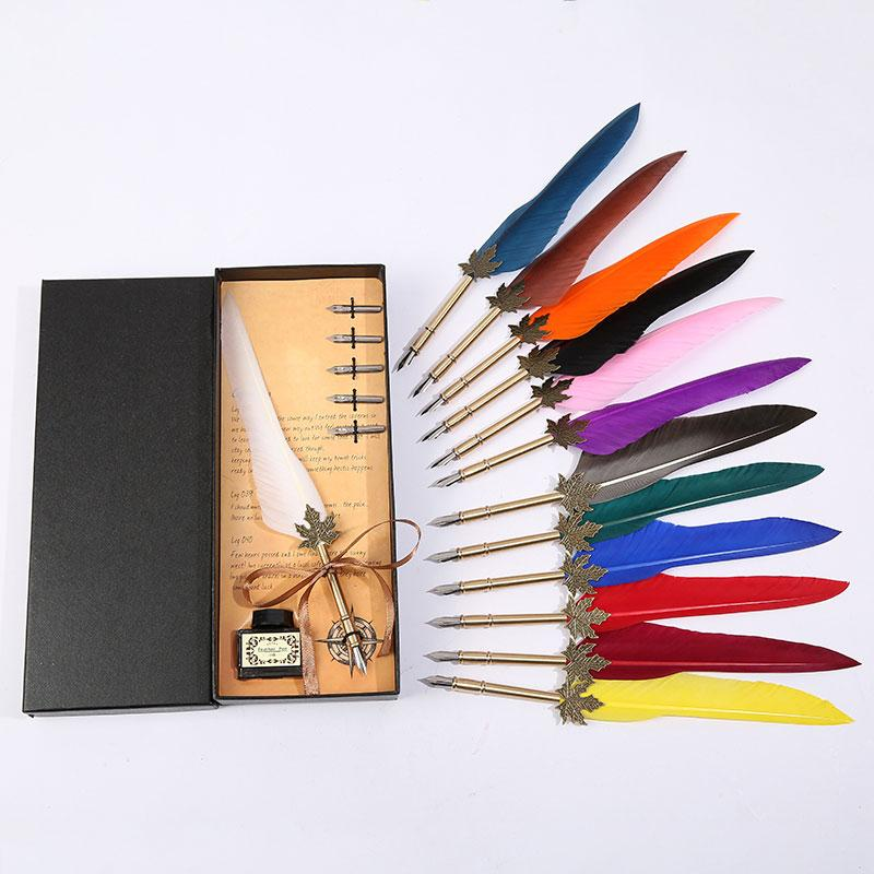 Retro Vintage Calligraphy Feather Pen Writing Pen Stationery Gift Box Wedding Birthday Gift Student Stationery High Quality Set