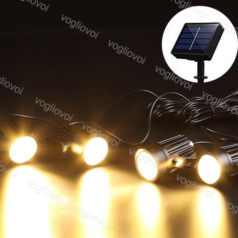 Lampes à gazon Solar Garden Lights Polysilicon Quatre têtes 3000 6500K Multicolor Floodlight Outdoor IP65 ABS pour Courtyard DHL