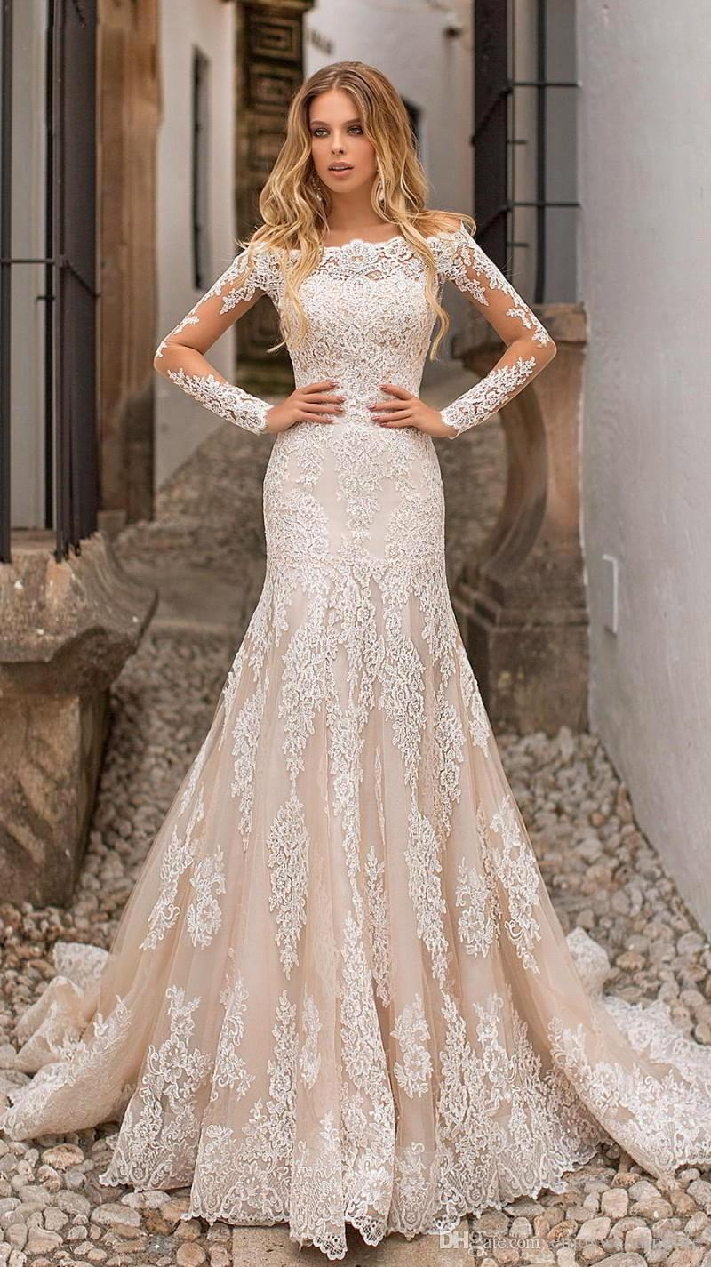 a88889cc81dc Beautiful Champagne Mermaid Wedding Dresses Off Shoulders Lace Appliques  Sheer Long Sleeves Tulle Long Bridal Gowns BC0120