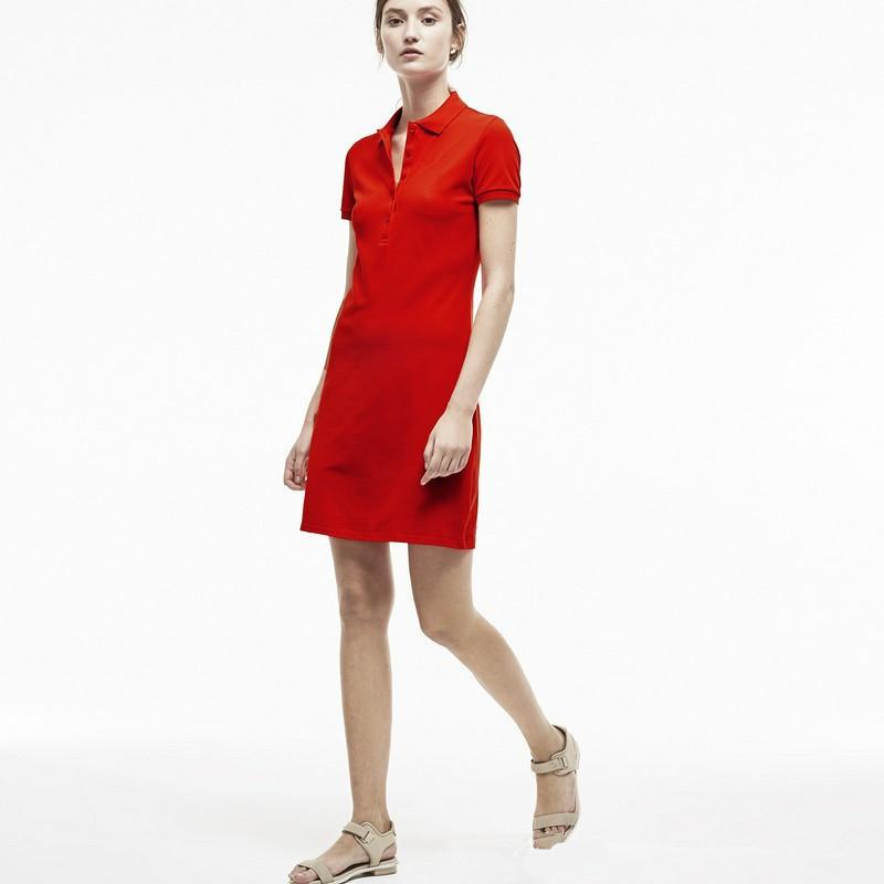 Lacoste lacoste Diseñador para mujer de cocodrilo Polo vestido bordado exquisito decoración mujeres ocasionales del verano vestido de la solapa del cuello una línea p2 alta calidad
