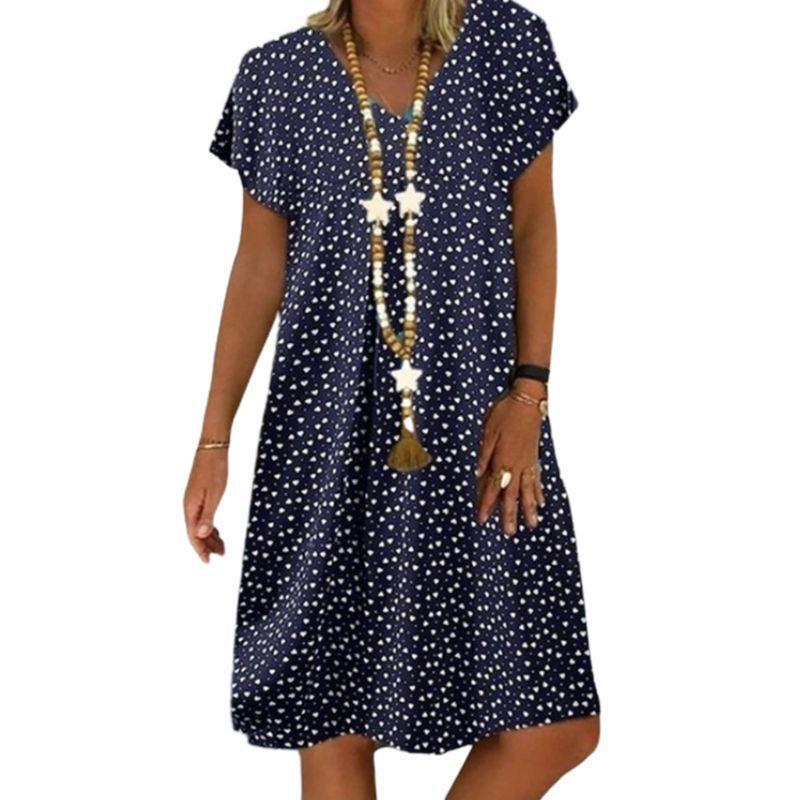 Kadınlar Yaz Kısa Kollu V-Yaka Gevşek Midi Elbise Kalp Baskılı Sundress S-5XL X5XA