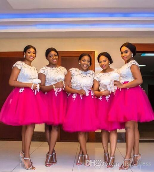 Tutu Skirt Short Bridesmaid Dresses African Girls A Line Jewel Neck Short Capped Sleeves With Lace Applique Wedding Guest Dresses