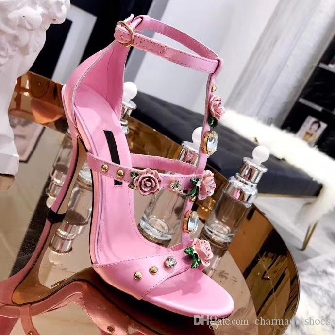 Real Leather Sandalias Mujer 2019 Luxury 3D Flower Heel Platform Sandals Rhinstones Stiletto High Heels Black Floral Party Shoes Woman