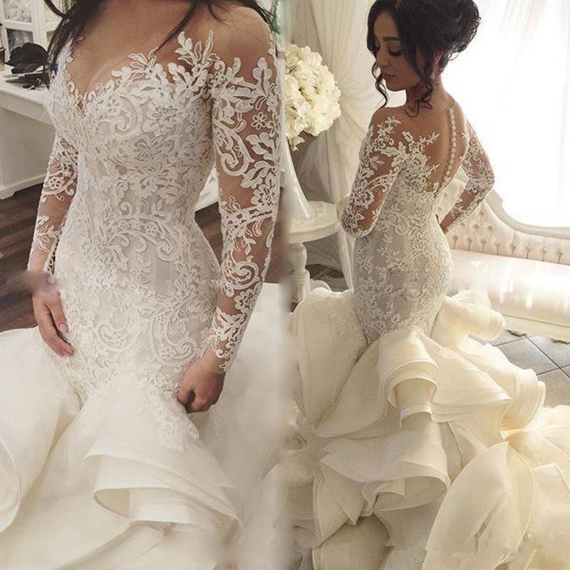 Babados Trem Em Cadeia Sereia Vestidos de Casamento com Manga Longa 2019 Completa Rendas Applique Sheer Neck Dubai Árabe Vestido Real De Noiva