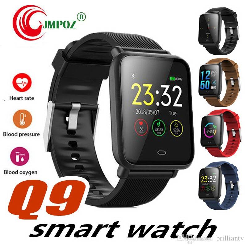Q9 Smartwatch Hommes Sports Imperméables Pour Android IOS Avec Moniteur de Fréquence Cardiaque Fonctions de Tension Artérielle Femmes Montre Smart Watch Horloge