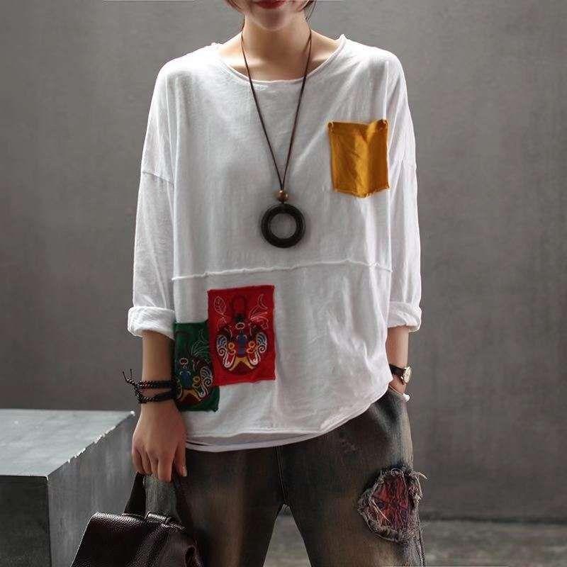 Camiseta de tela de algodón bordado Pullover femenina 2019 de algodón cuello de la camisa de tela de base redonda artística bordado jersey damas sueltos T-shi