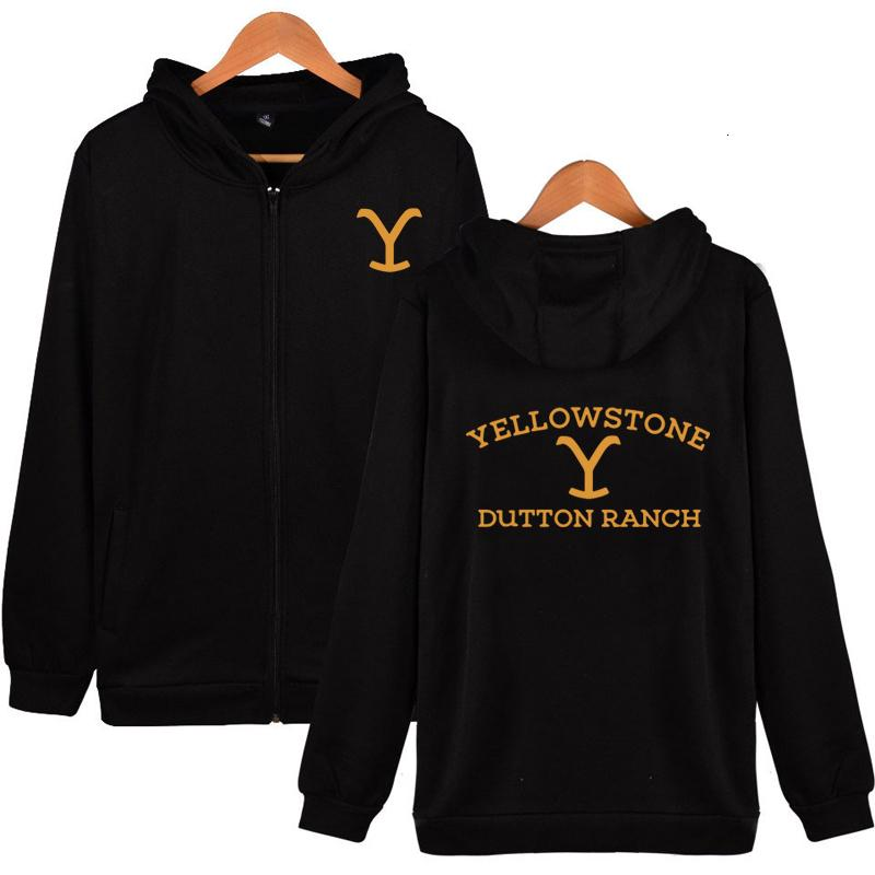 Kevin Costner Tv Serisi Yellowstone Zip Up Hoodie Yellowstone Dutton RANCH Fermuar Hoodie Wyoming Montana Inek Erkek Hoodie SH190911