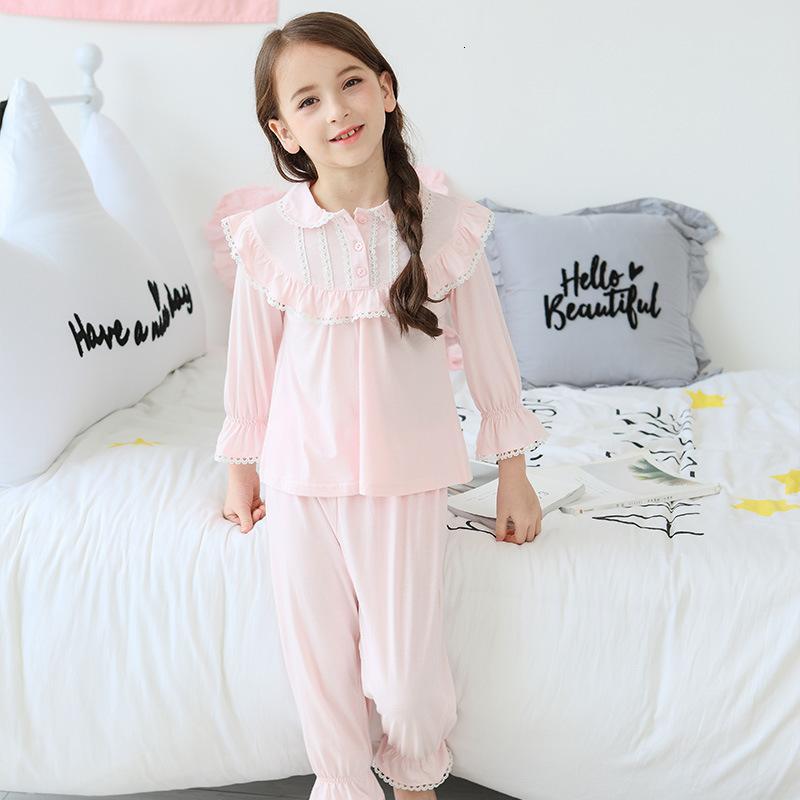 Toddler Pajamas Kids Sleepwear Cotton Lace Long Sleeve Retro Home Clothes for Girls Pajamas Set Children Clothing CJ191209