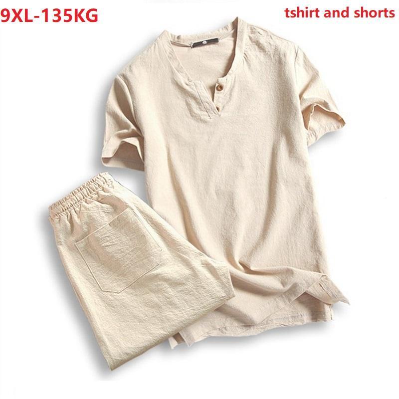 Erkek T-Shirt Artı Boyutu 5XL 7XL 8XL 9XL T-shirt Erkekler Yaz Tees Kısa Kollu Ve Şort Vintage Japonya Tarzı V Yaka Pamuk Tshirt Siyah 130 K