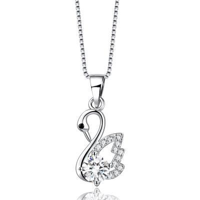 Nuevo 925 collar de cisne de plata colgante de cristal elegante temperamento xiaoxiangfeng conjunto zircon niñas joyería de moda collar colgante mujeres