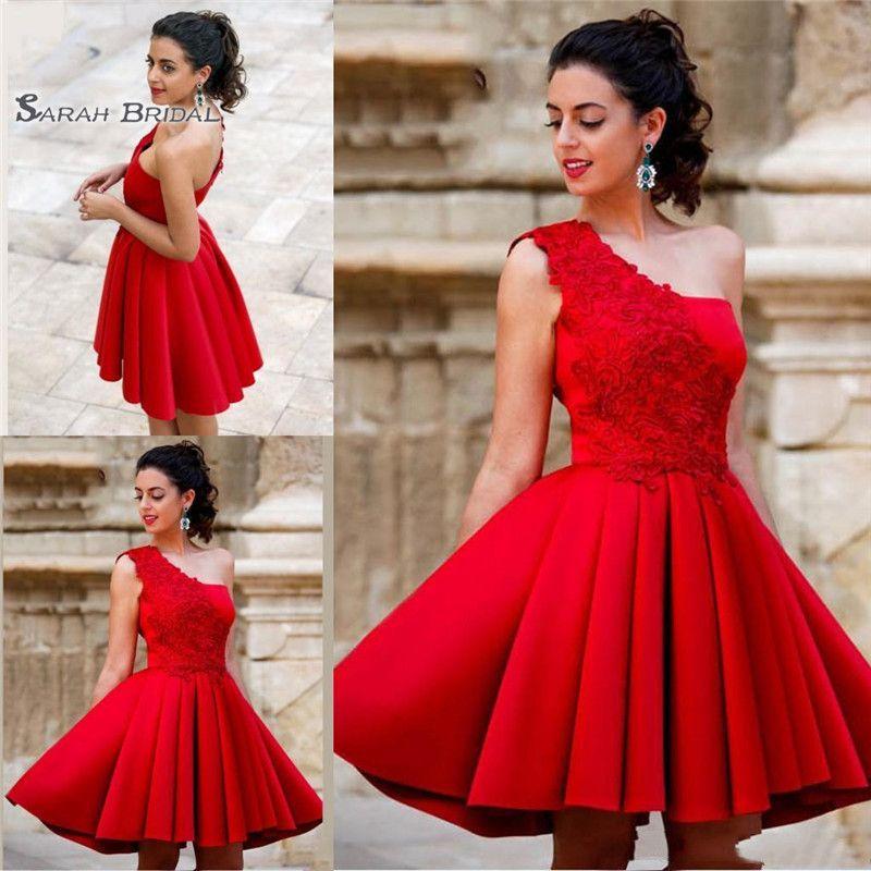 Red Short A Line Appliques Homecoming Dresses One Shoulder Beautiful Satin Graduation Party Dresses Sweet Dresses