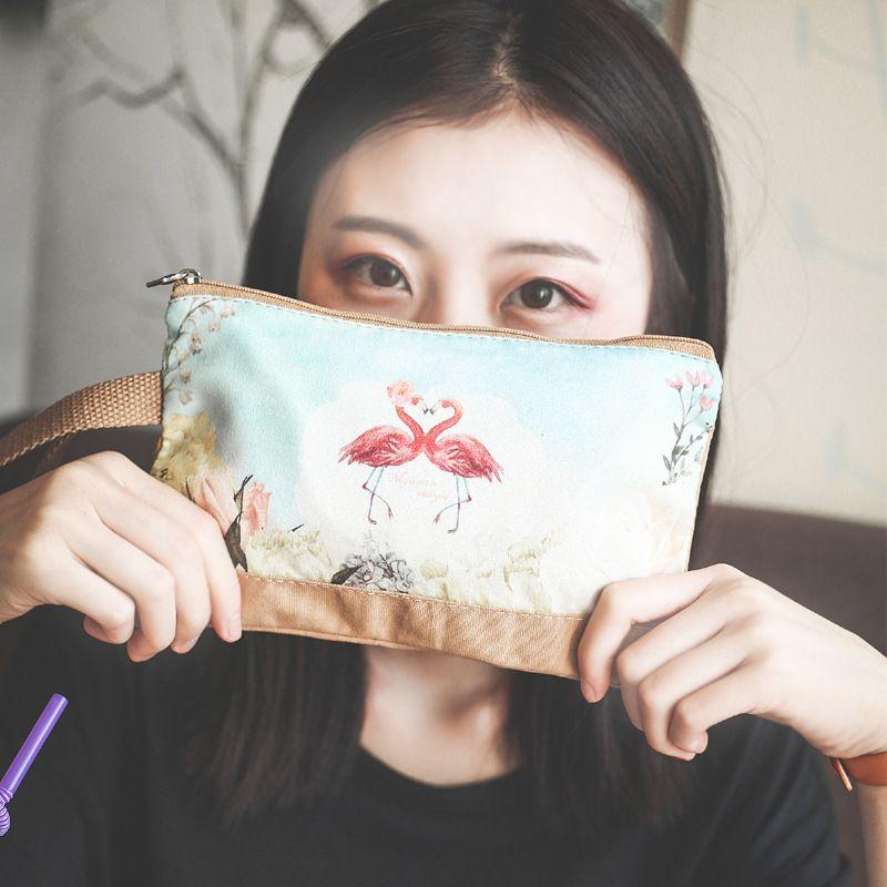 Women Cheap Handbags Canvas Cartoon Printing Clutch Bag Female Zip Coin Handbag Purse Cute Ladies 6 Inches Phone Bag Long Wallet