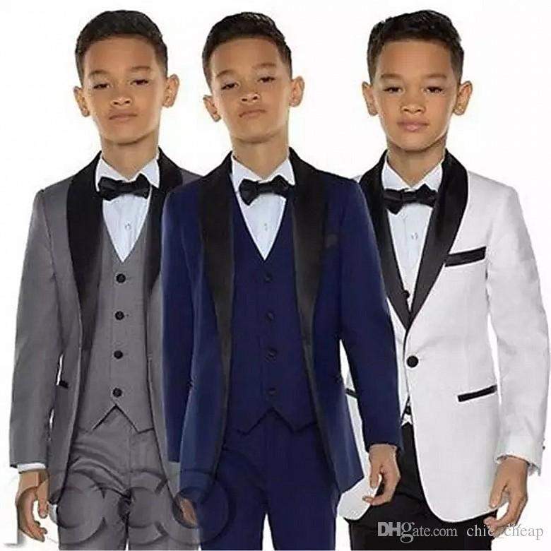 소년 턱시도 저녁 정장 3 조각 작은 소년 정장 검은 어깨 걸이 옷깃 정식 정장 턱시도 어린이 어린이 정식 착용 (자켓 + 조끼 + 바지)