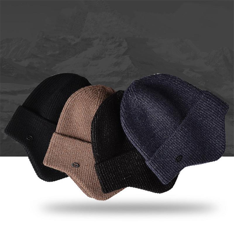 Unisex Защищаем Уши Шляпы Мужчины Женщины Зимняя шапочка Hat Повседневная вязаных шапочках Мода Популярная осень зима На открытом воздухе Теплый Ear Muff Теплые шапки шапки