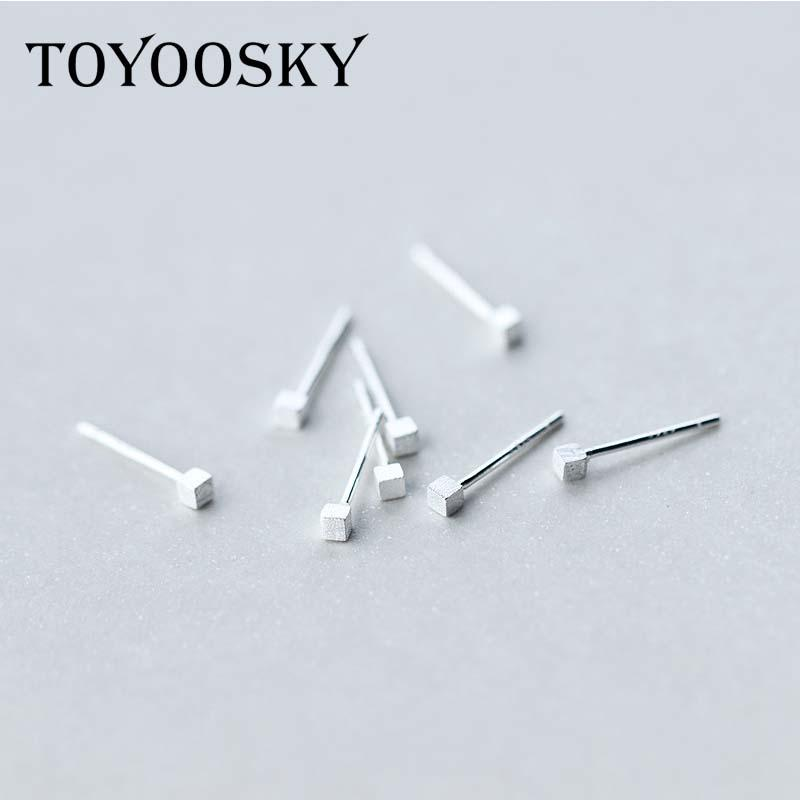 925 Pure Brushed Silver 2mm*2mm Mini Square Stud Earrings for Men Women Hypoallergenic Jewelry Comfortable Wholesale
