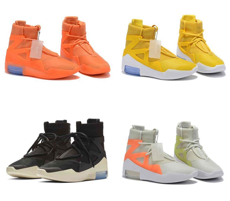 Lançamentos Fear of God 1 Man Calçados FOG Botas Luz óssea Black Sail tênis de basquete Homem Sports Zoom Sneakers AR4237-002