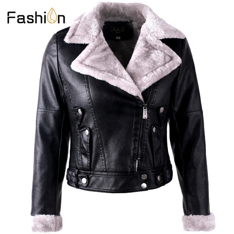 여성용 가죽 가짜 2021 모피 패치 워크 부드러운 코트 자켓 PU 흑인 여성 짧은 따뜻한 착용