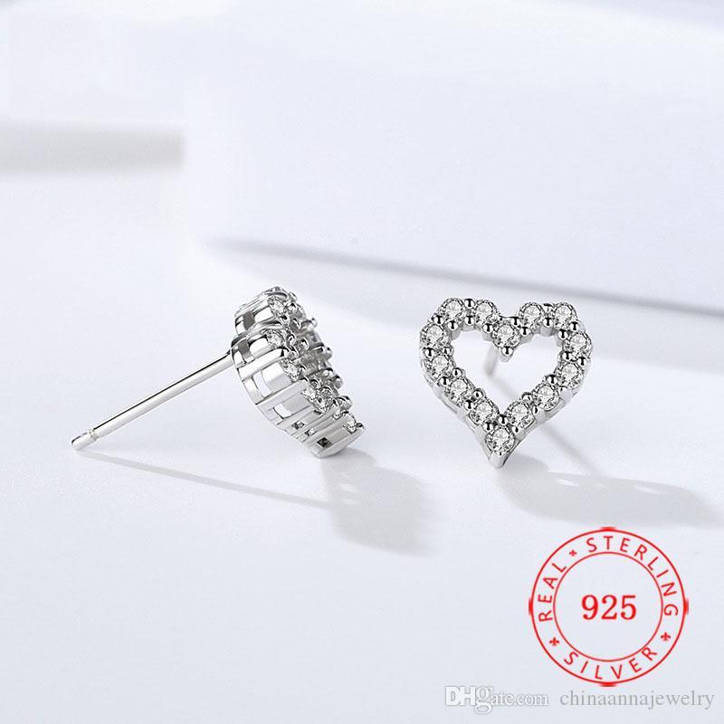 Moda takı Kadınlar 925 Gümüş kalp parti nişan için beyaz kübik zirkon elmas damızlık küpe şekilli