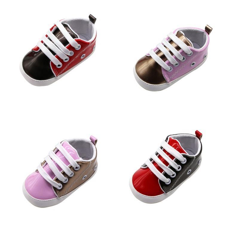 Zapatos de moda para niños pequeños muchachas de los bebés suave suela antideslizante zapatos que caminan al aire libre PU zapatillas de deporte casuales 2019 nuevo bebé p