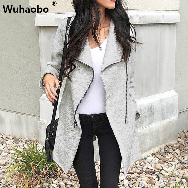 Wuhaobo Abrigos de invierno Mujer 2019 Cremalleras de moda Slim Mujeres Mezcla Abrigo Gris Manga larga Mujer Abrigo gabardina irregular