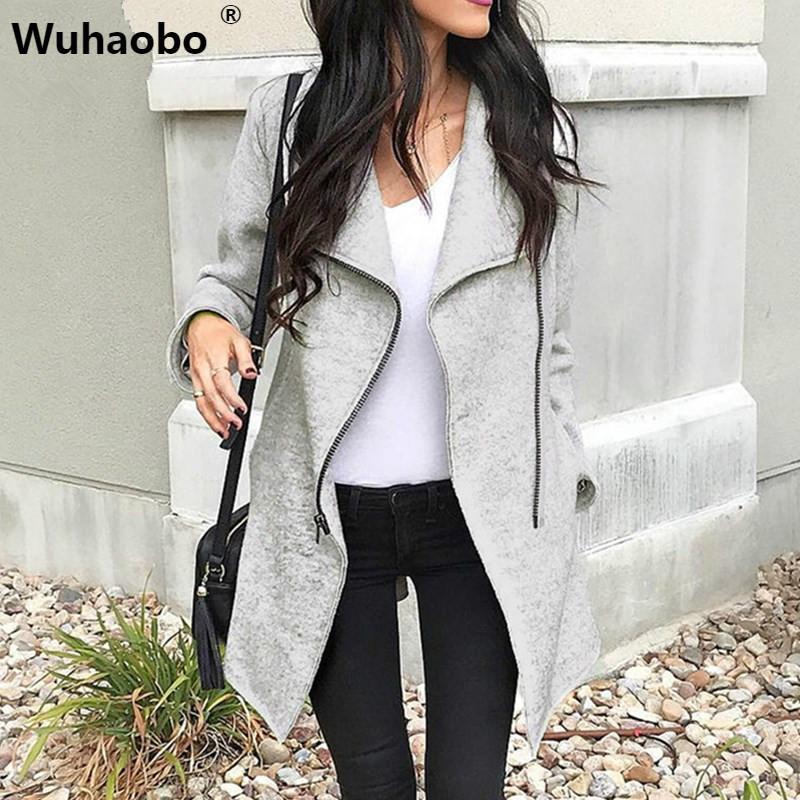 Wuhaobo Kışlık Mont Kadın 2019 Moda Fermuarlar Ince Kadın Karışımı Ceket Gri Uzun Kollu Kadın Düzensiz Siper Palto