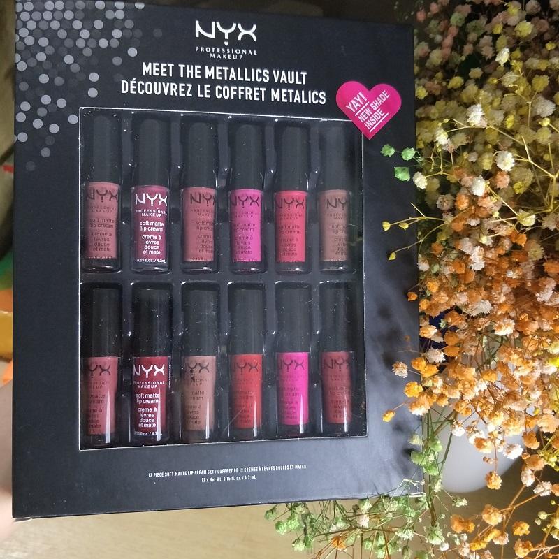 NYX professional makeup meet the metallics vault decouvrez le coffret metalics 12pcs soft matte lip cream set nyx lip gloss 12*4.7ml free