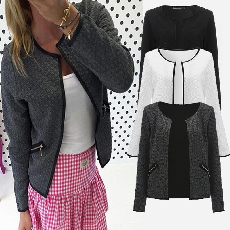 Más el tamaño de la tela escocesa Otoño mujeres delgadas capas de la chaqueta corta larga delgada ocasional de la manga rebecas Blazers Mujer OutwearChildrens Trajes S-4XL