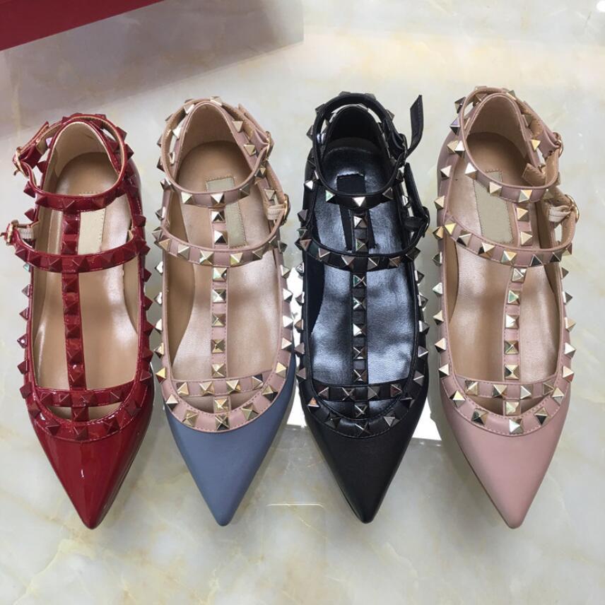 Hot Sale-2019 mulheres Plano sapata sapatas vestido pontas do dedo do pé fivela bombas plataforma sapatos de casamento preto