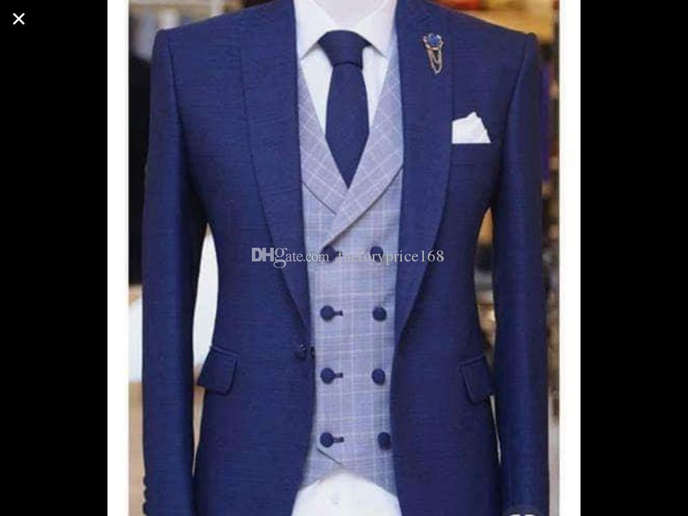 Fashionable One Button Groomsmen Peak Lapel Groom Tuxedos Men Suits Wedding/Prom/Dinner Best Man Blazer(Jacket+Pants+Tie+Vest) A158