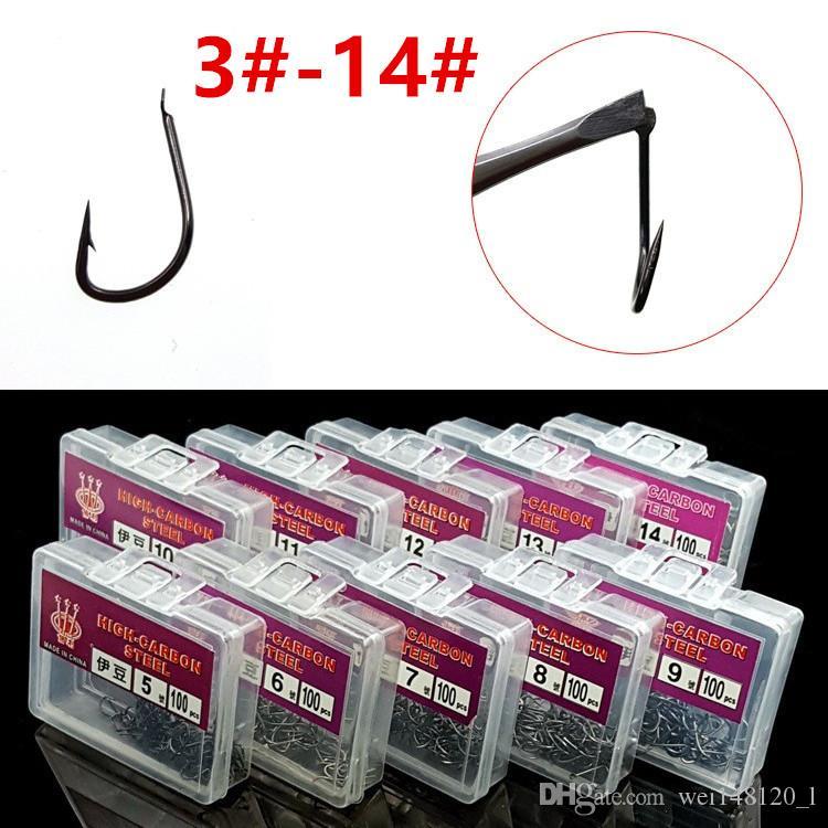 1200pcs / 12box 3-14 # Izu Crochet haut en acier au carbone sans trou de pêche Barbed Crochets Hameçons matériel de pêche e-012