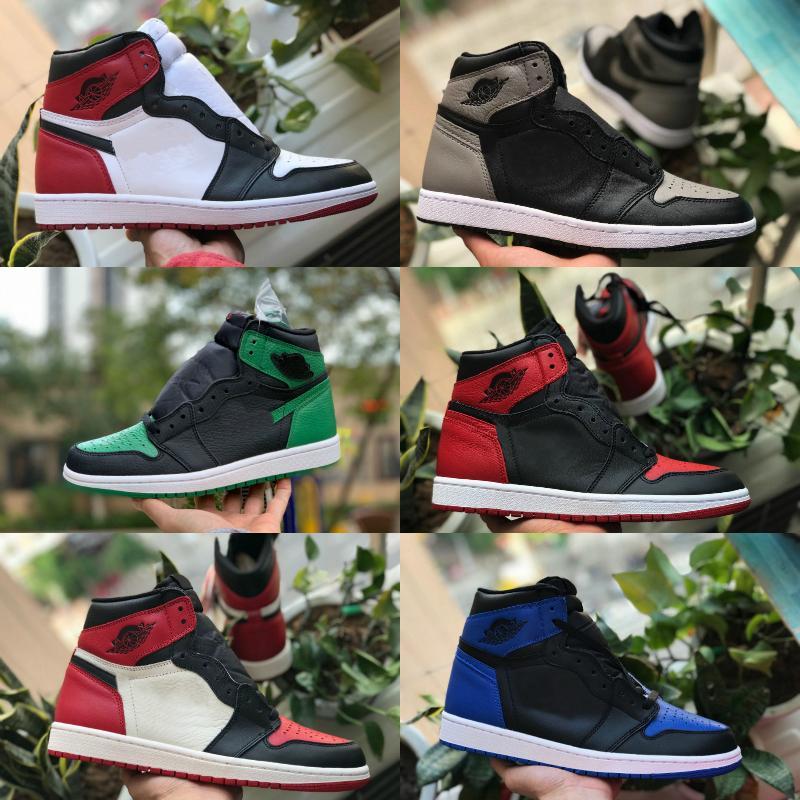 Vendas Mens Women 1 High tênis de basquete Bred Toe Banned Green Court Royal Blue sombra roxa preto Fragmento instrutor Retroes 1s Sports Shoes